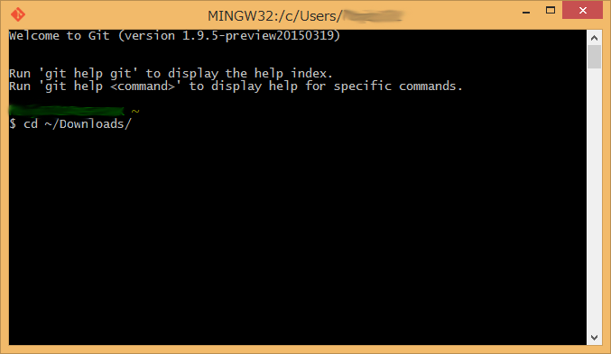 Git for Windowsコマンド入力